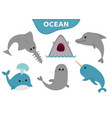 sea ocean animal fauna icon set blue whale vector image