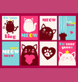 set of banners with cute cats vector image
