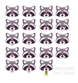 Set of raccoon faces vector image vector image