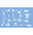 set of sea animals icons vector image vector image