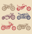 set of vintage motorcycles collection of bicycles vector image vector image