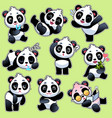 set stickers with cute pandas cute vector image vector image