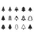 simple pine tree icons set vector image