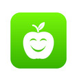 smile apple icon green vector image vector image