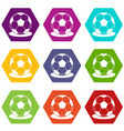 soccer ball icon set color hexahedron vector image vector image