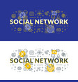 social network flat line concept for web banner vector image vector image