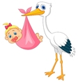 Stork with baby girl vector image vector image