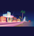 street in miami with hotel and sand beach at night vector image vector image