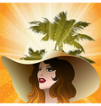 The girl in a beach hat vector image vector image