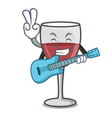with guitar wine mascot cartoon style vector image vector image