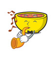 with trumpet soup union mascot cartoon vector image vector image