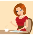 Young pretty woman sitting in the cafe and using a vector image vector image