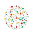 Colourful pills in circle shape isolated on white vector image