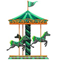 A green carrousel ride vector image vector image