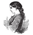 a profile of a woman face vintage engraving vector image vector image
