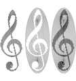 abstract treble clefs vector image vector image