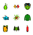 activity icons set cartoon style vector image vector image