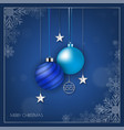 blue christmas banner with snowflake bokeh and vector image