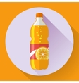 bottle with orange soda liquid Flat vector image