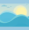 bright sunny sky and ocean waves background vector image