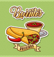 burritos mexican delicious fast food chili pepper vector image