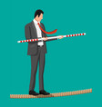 businessman in suit walking on rope with balancer vector image