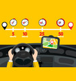 car navigation with time icons road map with pins vector image vector image