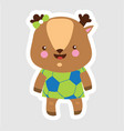 cheerful little stag in cartoon style wearing vector image vector image