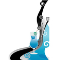 cocktail blue card with cherry vector image vector image