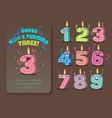 cute birthday candle number characters vector image vector image