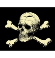 Evil skull with bones Warning sign vector image vector image