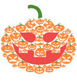flat cartoon halloween pumpkin face vector image vector image