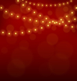Golden Christmas lights on red vector image vector image