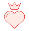 heart with crown flat icon valentines heart pink vector image