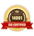 iso 14001 certified medal - environmental vector image vector image