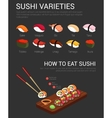 Japanese variety of sushi and chopsticks vector image