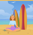 joyful girl doing yoga beach vacation ocean vector image