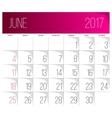 June 2017 calendar template vector image