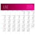 June 2017 calendar template vector image vector image