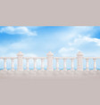 marble balustrade on blue cloudy sky background