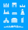 milan italy city skyline icons set simple style vector image vector image