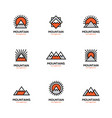 mono line mountain icon set vector image
