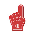 number 1 fan red foam finger vector image