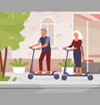 old people riding electric scooter on city street vector image vector image