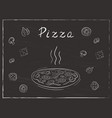 pizza on black background vector image vector image