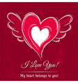 red background with valentine heart vector image