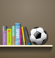 Row of colorful books and soccer ball vector image vector image