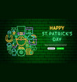 saint patrick day neon banner design vector image
