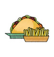 sandwich and french fries vector image vector image
