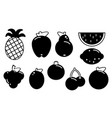 set of fruits black silhouette various on a white vector image vector image